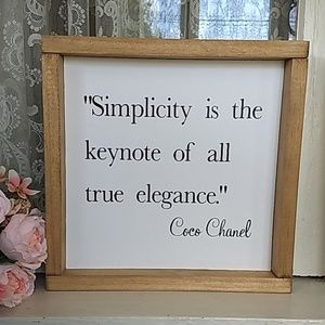Simplicity  Brown Wood Frame Signboard Coco Chanel